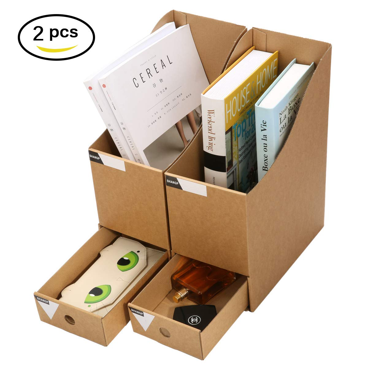 Caveen Magazine Holder With Drawer Kraft Paper File Holder Office Supplies Desk Storage Organizer Documents File Box 2pcs
