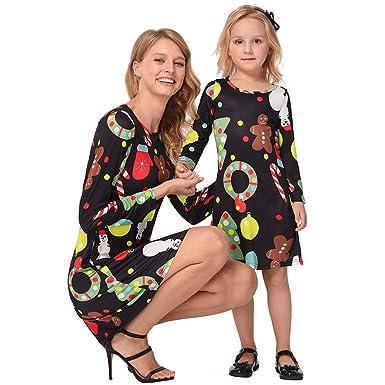 9fcfd345b38bd Moonuy Mère Et Fille Col Rond sans Manches Maxi Taille Haute Dress Longue  Famille Ensemble Robe