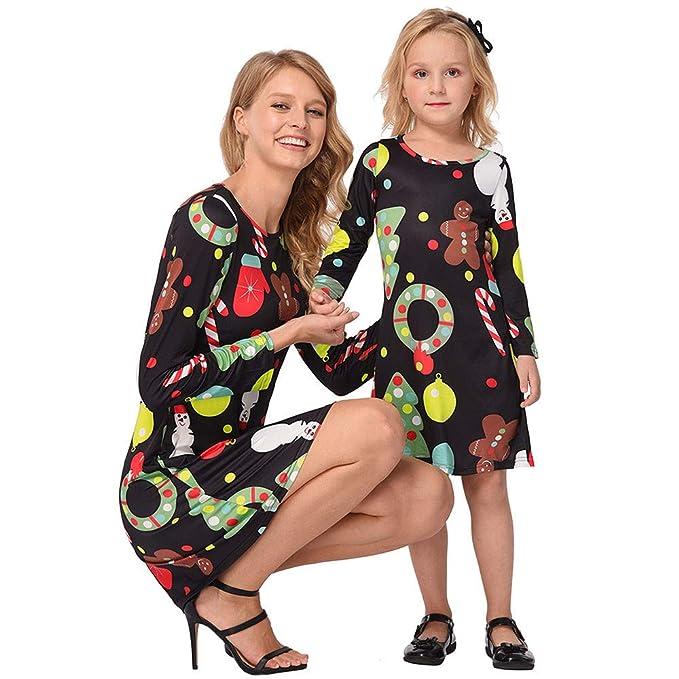 uonqd christmas mommy me women long sleeves cartoon dress family clothess mom