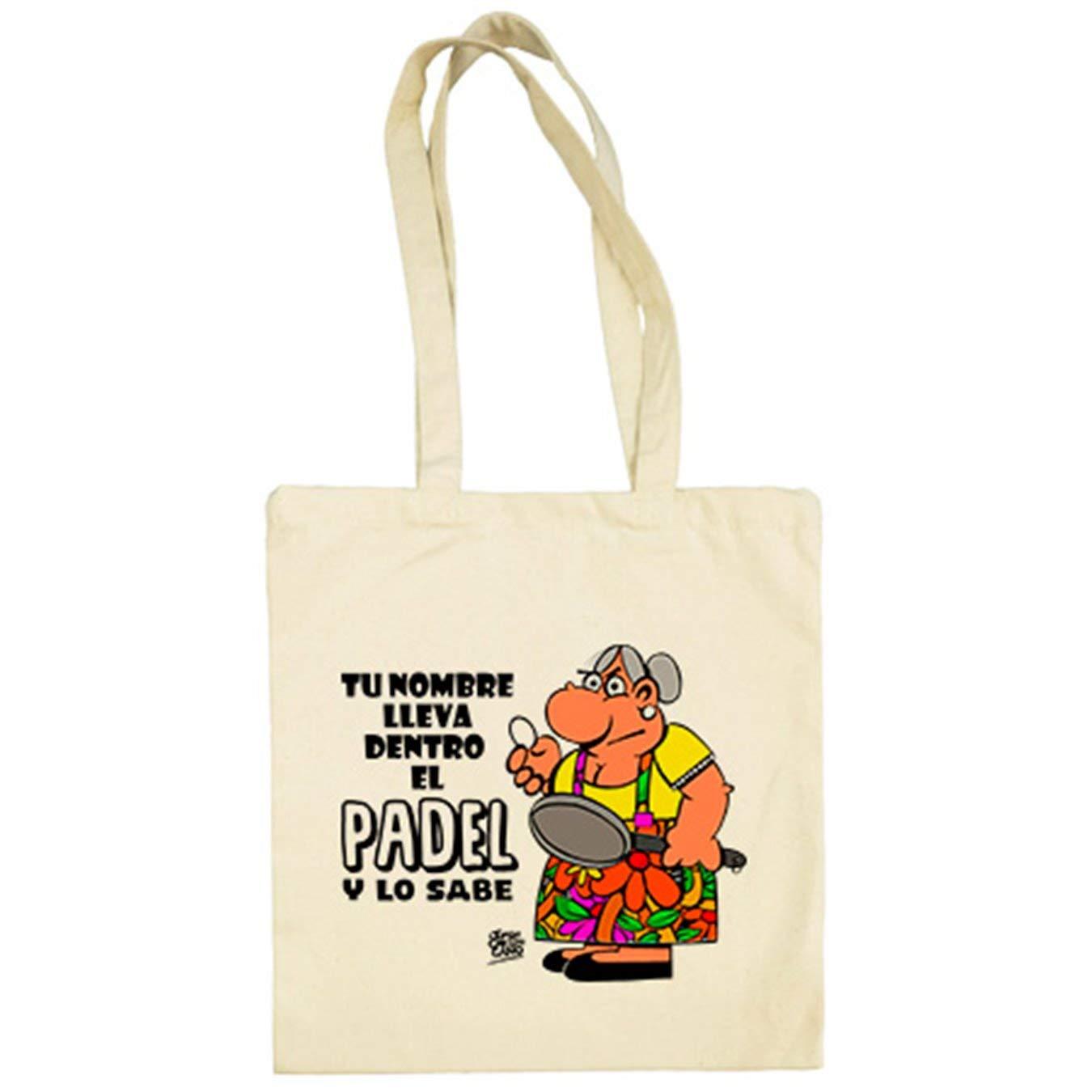 Bolsa de Tela llevas Dentro el Padel y lo Sabes Personalizable con Nombre - Beige, 38 x 42 cm: Amazon.es: Equipaje