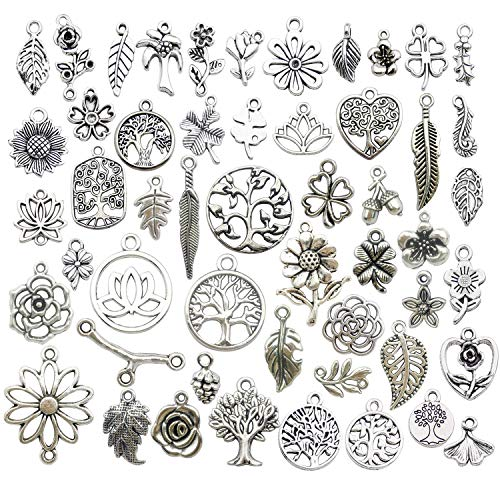 Youdiyla 100pcs Mix Silver Tree Flower Charms Collection, Bulk Mini Small Little Charms Metal Pendant Craft Supplies Findings for Necklace and Bracelet Jewelry Making -