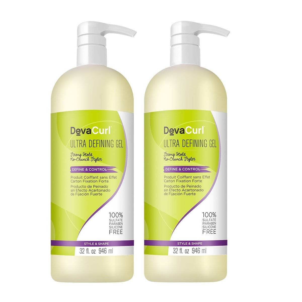 DevaCurl Ultra Defining Gel; Define and Control for Curly Hair; Strong Hold; 32 Ounce; 2-Pack