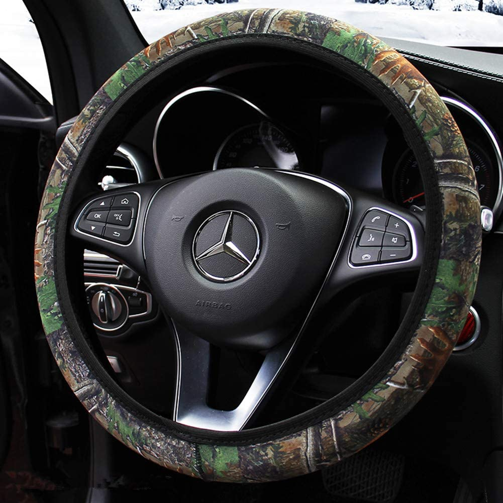 Anti-Slip Odorless Universal 15 inch Bark Style Easy Carry KAFEEK Steering Wheel Cover,Warm in Winter and Cool in Summer Microfiber Breathable Cloth