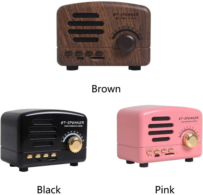 USB Rechargeable Mini Bluetooth Speaker Retro Vintage Portable Wireless Speaker with TF Card Slot Home Beach Pink Office Super Bass Stereo AM FM Radio MP3 Player Speaker for for Travel