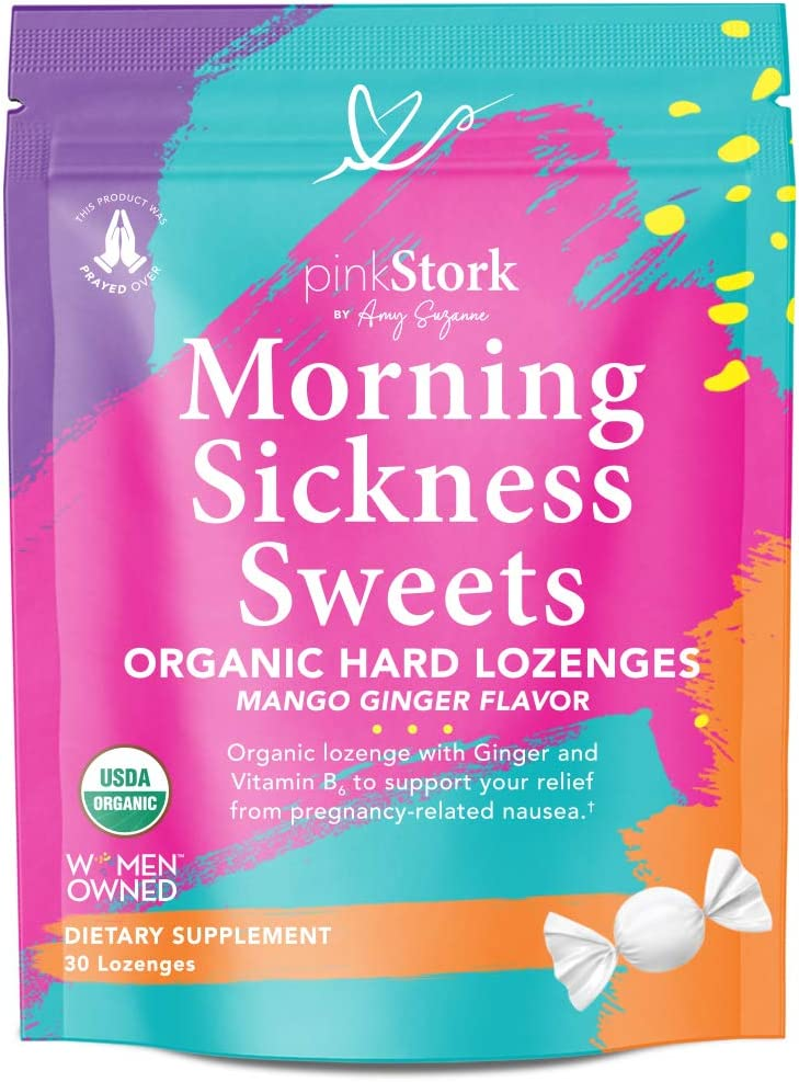 Amazon Com Pink Stork Morning Sickness Sweets Ginger Mango Morning Sickness Candy For Pregnancy Nausea Digestion 100 Organic Vitamin B6 Women Owned 30 Hard Lozenges Health Personal Care