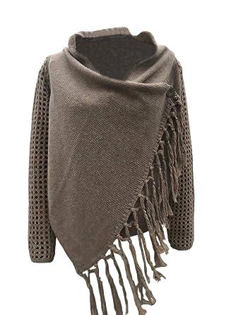 Foursteeds Ladies Knit Cape Fringed Hem Crochet Poncho Knitting