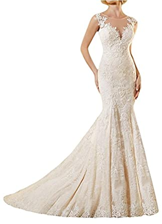 VEPYCLY Women\'s Exquisite Sleeveless Mermaid Lace Ivory Bridal ...