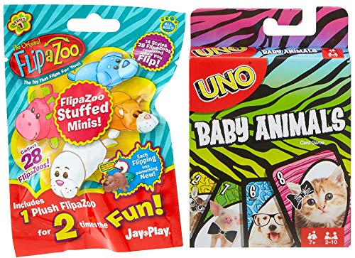 Cuteness Game Set Uno Theme Animals Baby Bundled Fun Theme Deck Edition Card Matching Game Bundled with Stuffed Minis Flip Zoo Sweet Blind Bag 2 Items ()