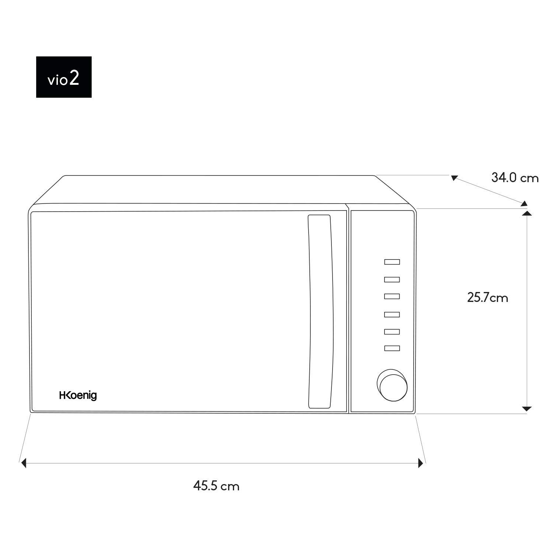 20L H.Koenig VIO2 Forno Microondel Diametro piatto 24.5cm 700W Grigio 8 programmi di cottura