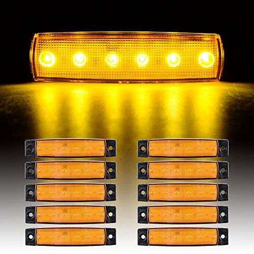 10 pcs 6 LED Surface Mount Side Marker Truck Trailer Bus Cab Boat Marker Light RV (Amber LED) (Volvo Truck Lights Accessories compare prices)