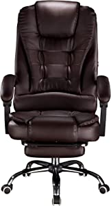 Cosyshow Comfort Genuine Leather High Back Executive Office Desk Chair Ergonomic Adjustable Recliner Computer PC Gaming Chair Footrest Armrest (Coffee-Footrest)