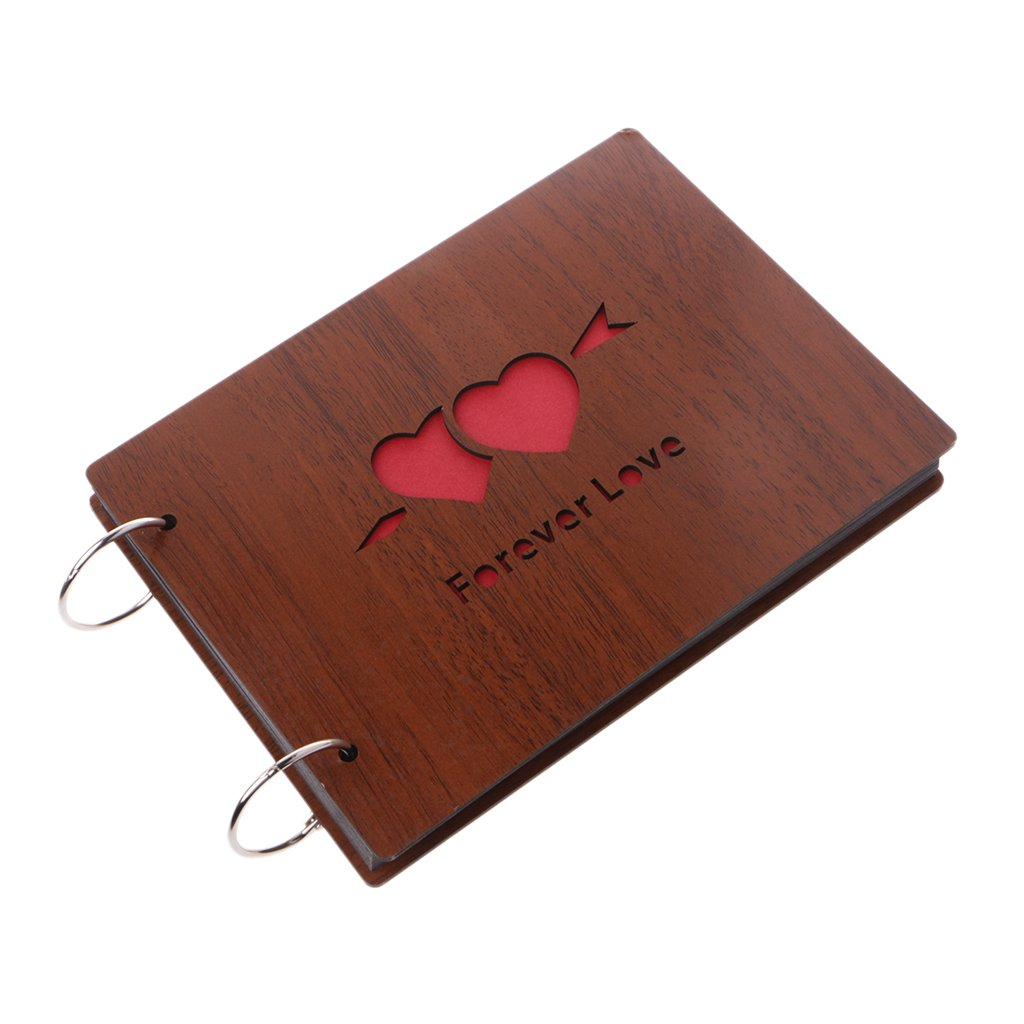Richi 8 Inch Forever Love Wooden Crafts Albums Red Loose-leaf Glued Lovers Photo Album