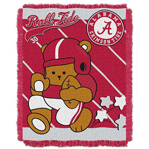 (The Northwest Company Officially Licensed NCAA Alabama Crimson Tide Fullback Woven Jacquard Baby Throw Blanket, 36