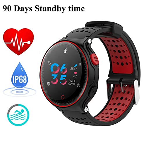 IP68 Waterproof Fitness Activity Tracker for Swimming Heart Rate Monitor Sleep Blood Pressure Oxygen Monitor Multi Sport Smart Watch Pedometer Bracelet Sedentary/Drink Reminder for Android & iOS (Red)