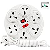 ELV Extension Board 6 Amp 8 Plug Point with Master Switch, LED Indicator, Extension Cord (2.7 Meter) - White