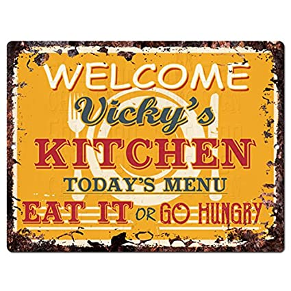 Amazon Com Welcome Vicky S Kitchen Chic Tin Sign Vintage