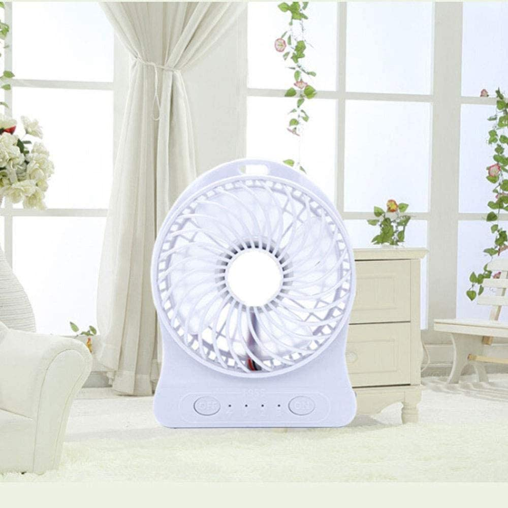 ASDAD Mini USB Fan with Built-in Battery Four-Leaf Design LED Night Light Low Noise 3 Speeds Portable Fan for Home Office Outdoor Travel,Pink,White