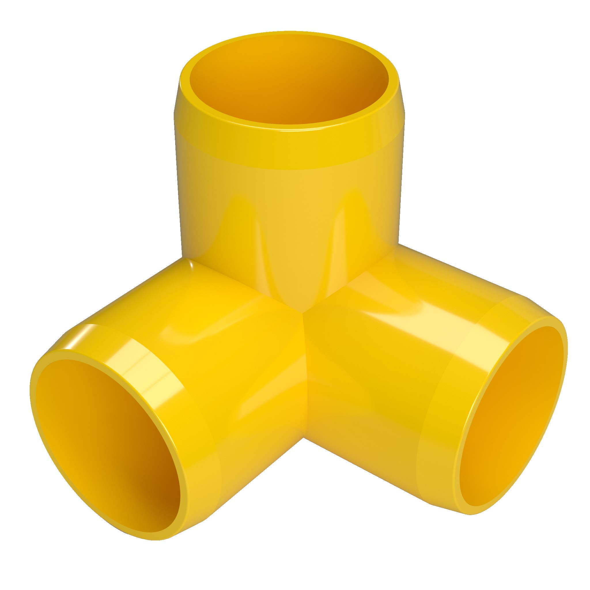 FORMUFIT F1143WE-YE-4 3-Way Elbow PVC Fitting, Furniture Grade, 1-1/4'' Size, Yellow (Pack of 4)