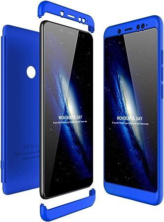 JMGoodstore Funda Compatible Xiaomi Redmi Note 5 Pro,Carcasa Redmi Note 5 Pro,360 Grados Integral Ambas Caras+Cristal Templado,3 in 1 Slim Dactilares Protectora Skin Caso Cover Azul: Amazon.es: Hogar