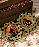 Bethany Lowe Designs Haunted House and Black Cat Halloween Plates