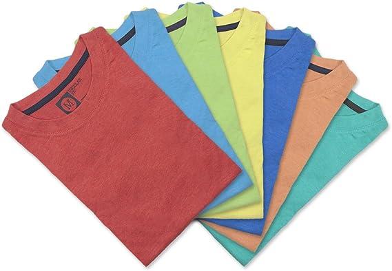 Primark Color Pack de 7 Camisetas, Amarillo, Azul, Azul Claro, salmón, Verde, Rojo y Turquesa, M para Hombre: Amazon.es: Ropa y accesorios