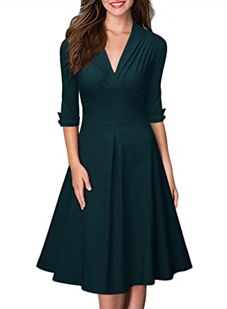 b0ebb3962b3a Miusol Women's Retro Deep-V Neck Half Sleeve Vintage Cocktail Swing Dress, Green,