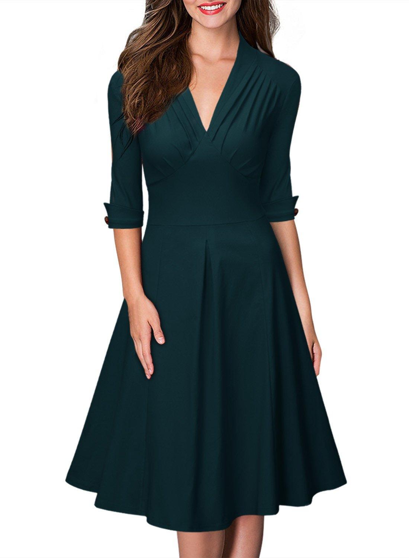 f173eaa12486 Galleon - Miusol Women's Retro Deep-V Neck Half Sleeve Vintage Cocktail Swing  Dress,Green,XX-Large