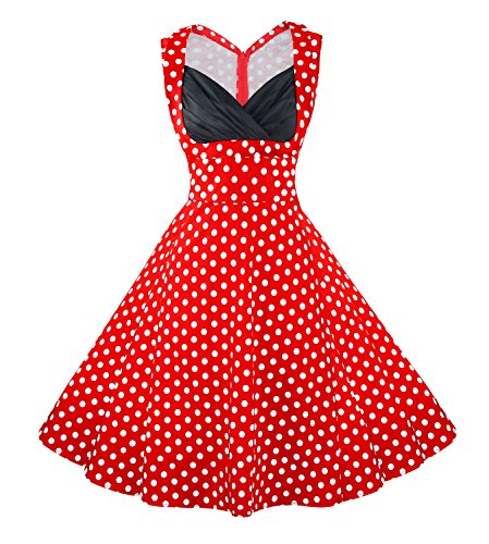 Killreal Women's 1950's Polka Dot Cut Out V-Neck Vintage Casual Party Cocktail Dress Plus Size Red XXX-Large -