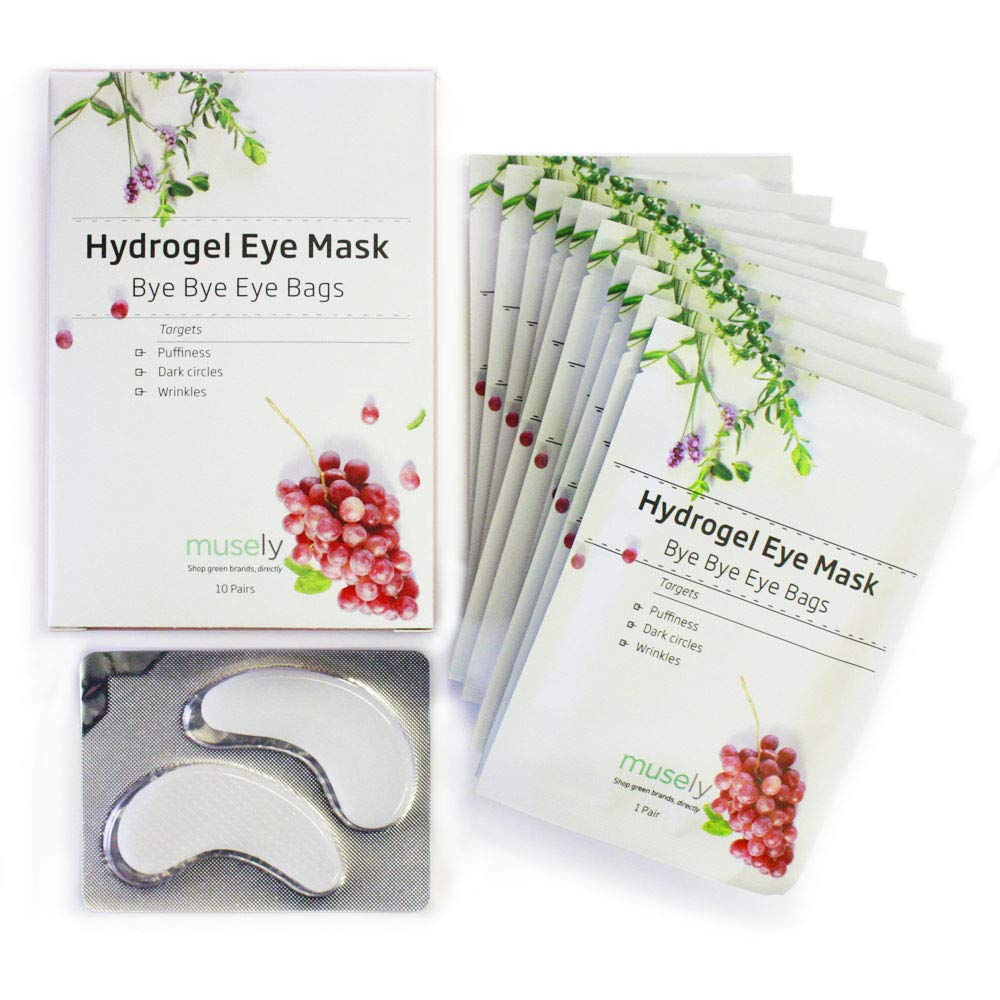 Musely Hydrogel Eye Mask, Bye Bye Eye Bags, Pro Formula, Pack of 10 by Musely