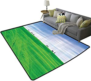 Room Decorations Collection Durable Rug Tuscany Country Cypress Trees and Fields Crop Rural Area San Quirico Orcia Italy Image Non-Slip Green, 5'x 8'(150x240cm)