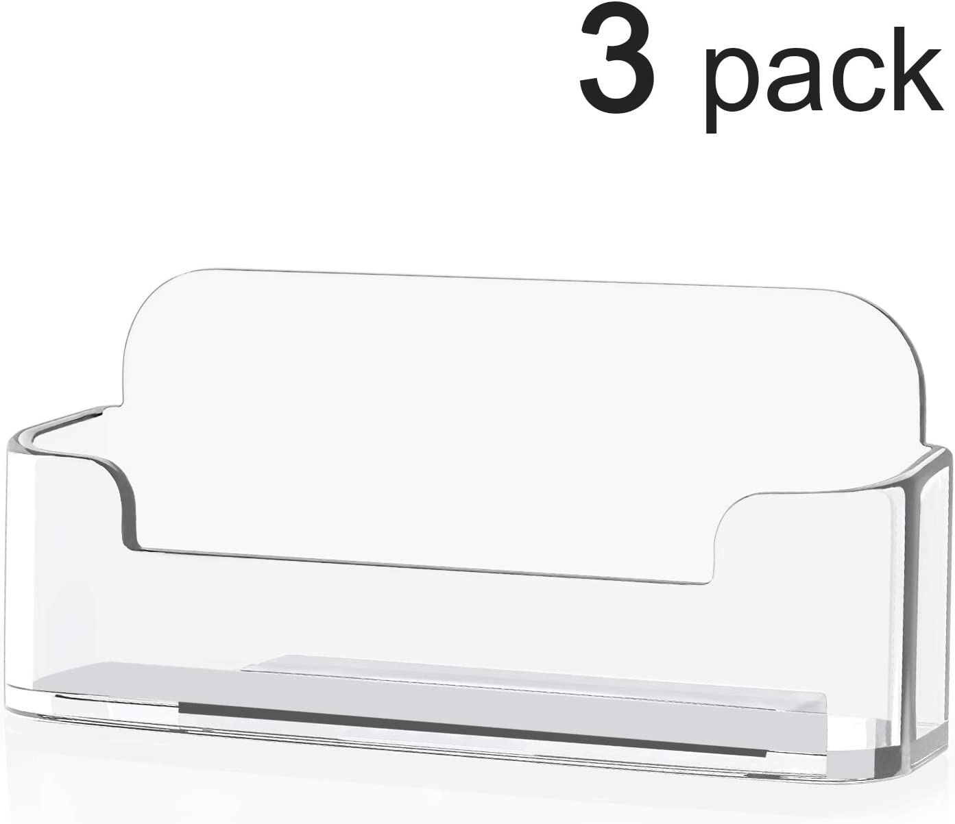 MaxGear 3 Pack Acrylic Business Card Holder for Desk Plastic Business Card Display Clear Business Card Holders for Author Ev, 3.8 x 1.9 x 1.4 inches