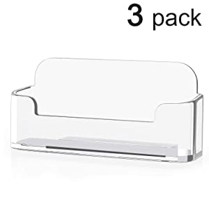 MaxGear 3 Pack Acrylic Business Card Holder for Desk Plastic Business Card Display Clear Business Card Stand Desktop Business Card Holders for Home & Office, 3.8 x 1.9 x 1.4 inches