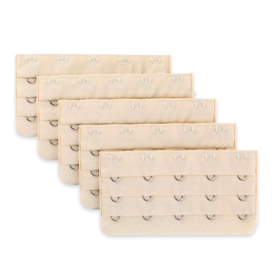 uxcell Ladies 5 Rows Hook and Eye Tape Extension Bra Strap Extender Beige 5 Pcs Beige a12101500ux0309