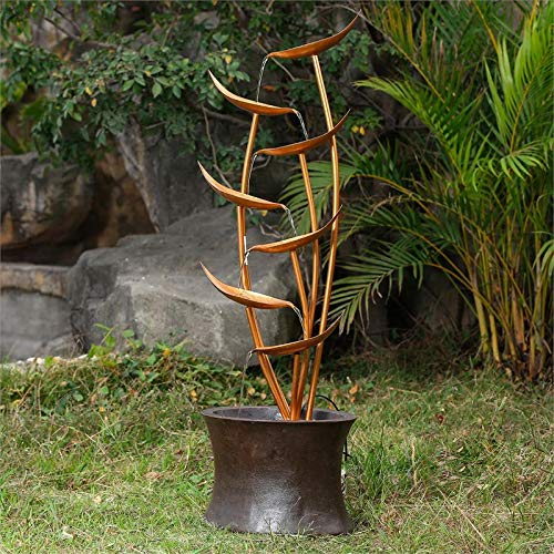 """43"""" Rain Forest Bronze Metal Leaves Cascading Polyresin Patio Fountain"""