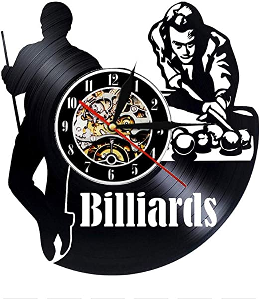 CHANGWW Billar Pool Vinyl Record Reloj de Pared Diseño Moderno ...