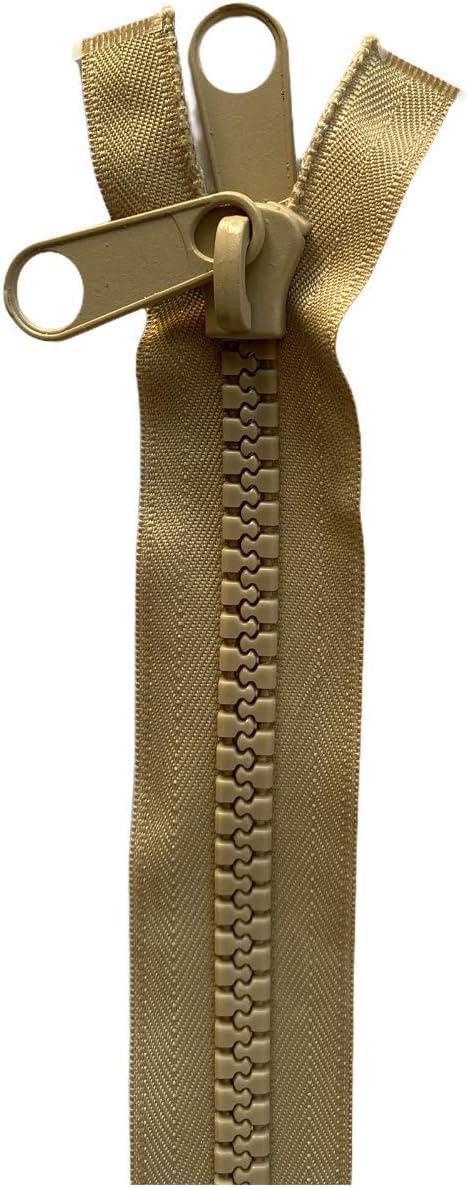 Cremallera de plástico doble con extremo abierto NO.10, resistente, de 24 a 558,8 cm, (beige (308) – doble extractor, 61 cm – 61 cm)