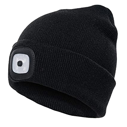 cd363e9cd0b Amazon.com   BOying Unisex 4 LED Knitted Beanie Hat