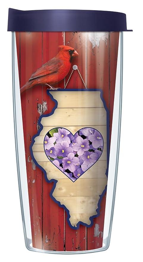 amazon com illinois state bird flower 16 oz traveler tumbler mug