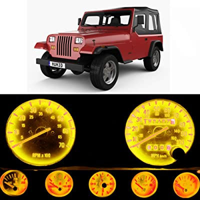 WLJH Bright Yellow Instrument Panel Gauge Cluster Speedometer Tach Oil Pressure Fuel Temp Clock Indicator Bulb Full Led Light Kits Package Replacement for Jeep Wrangler 1987-1991: Automotive