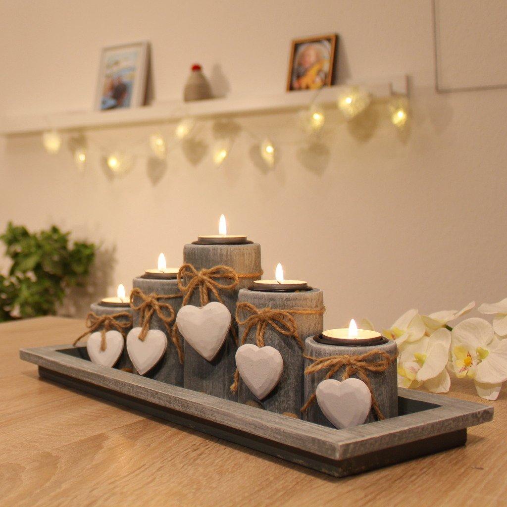 Amazon.de: Teelichthalter Set Auf Holztablett Tischdekoration  Weihnachtsdeko Innen Tischdeko
