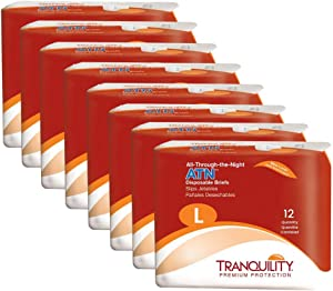 Tranquility ATN Adult Disposable Briefs with All-Through-The-Night Protection, L (45