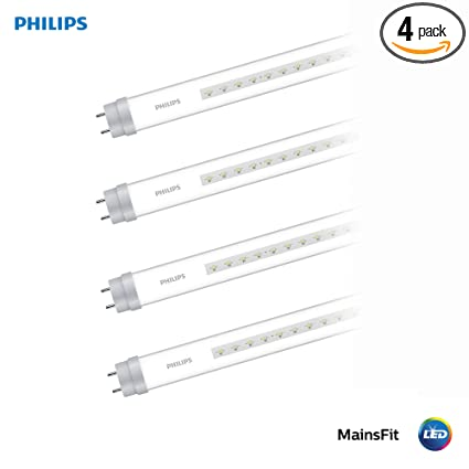 Philips LED 542514 MainsFit Ballast Bypass 4-Foot T8 Tube Glass Bulb:  1800-Lumen, 5000-Kelvin, 16 (32-Watt Equivalent), Medium Bi-Pin G13 Base,  Clear,