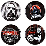 Rob Zombie - Unisex-adult Rob Zombie - 4 Piece Button Set Red