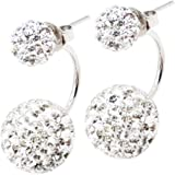 Promotional Price. Ltd Time Only. Trending Sterling Sterling Silver 925 Crystal Double Stud Earrings boxed. v8gqk