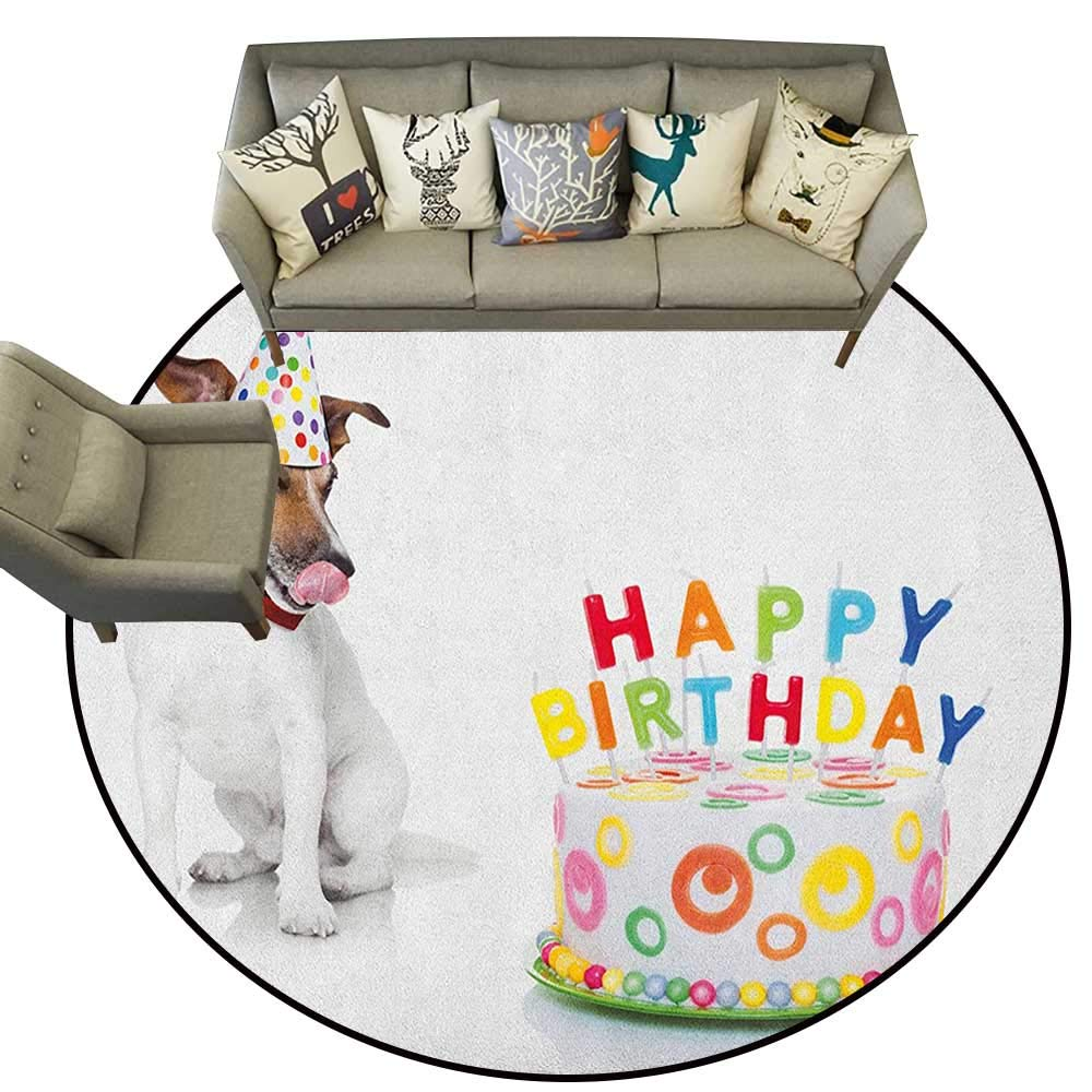 Kids Birthday,Rugs Russel Dog Domestic Puppy Pet with Hat at a Party Celebration with Yummy Cake D54 Circular Area Rugs for Kids Bedroom