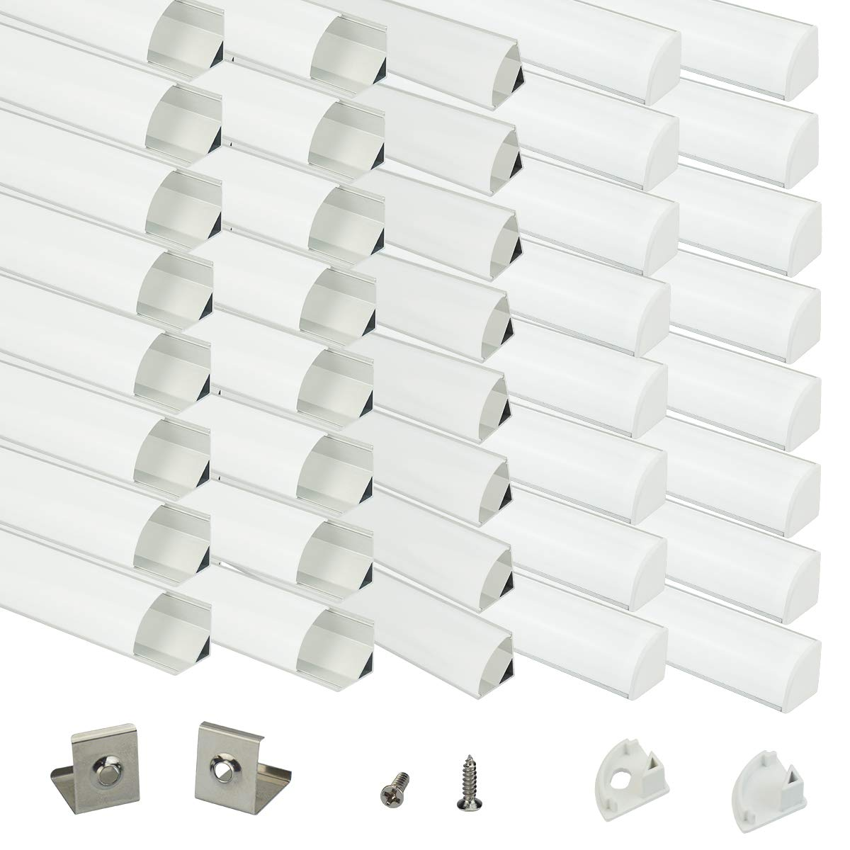 Muzata Aluminum Channel For Led Strip Light With Milky White Curved Diffuser Cover, End Caps, and Mounting Clips. Right Angle Aluminum Profile, with Video V-Shape, 40-Pack 3.3ft/1M V1SW,series LV1 by Muzata