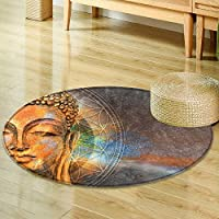 Non Slip Round Rugs head of lord buddha digital art collage combined with watercolor buddha purnima Oriental Floor and Carpets -Round 35