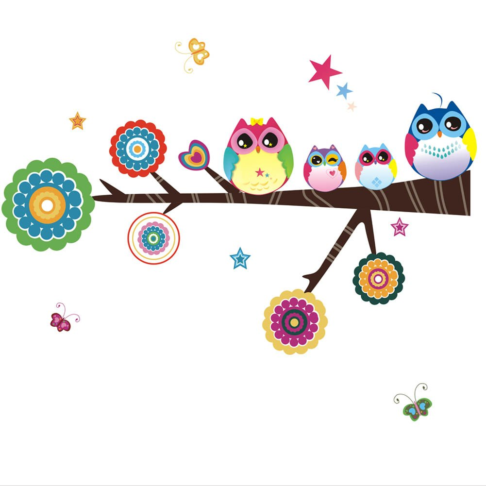Amazon.com: Owl Family Playing On Branches Owl Wall Decal Sticker Nursery Wall  Decal: Baby