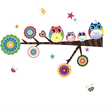 Owl Family Playing On Branches Owl Wall Decal Sticker Nursery Wall Decal