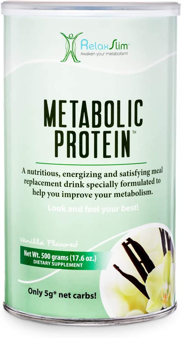 RelaxSlim Meal Replacement Whey Protein Shakes, Natural Aid for a Slow Metabolism with Ingredients to Suppress Appetite and Start of Your Day Burning Fat- Great Taste and Very Filling Vanilla